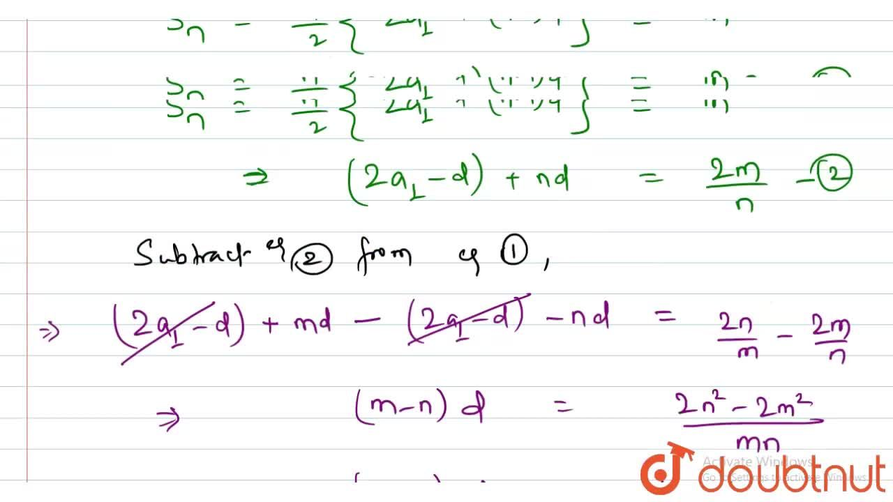 Solution for In an A.P,the sum of m terms of an AP is n and sum