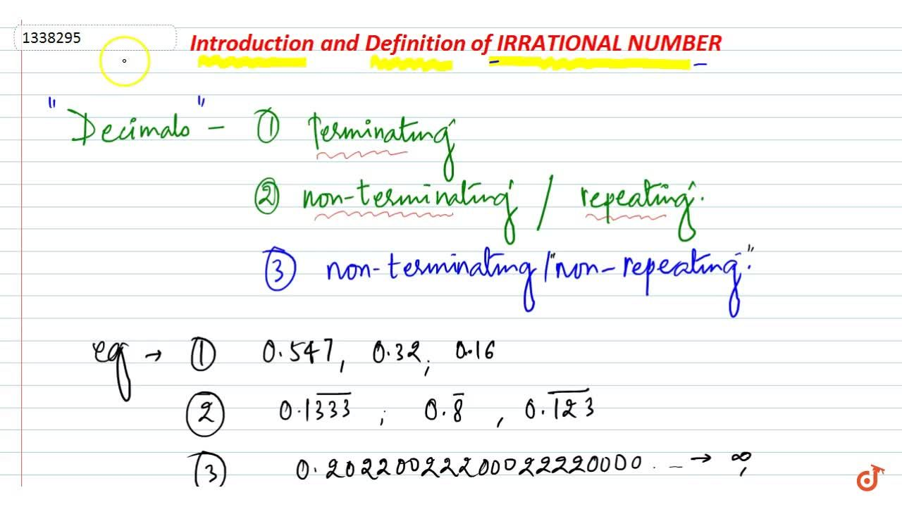 Introduction and Definition of Irrational numbers.