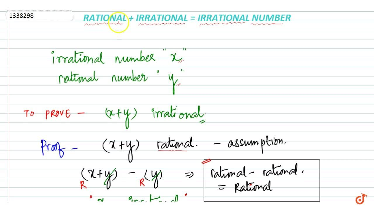 Solution for Addition of rational and irrational number is alwa
