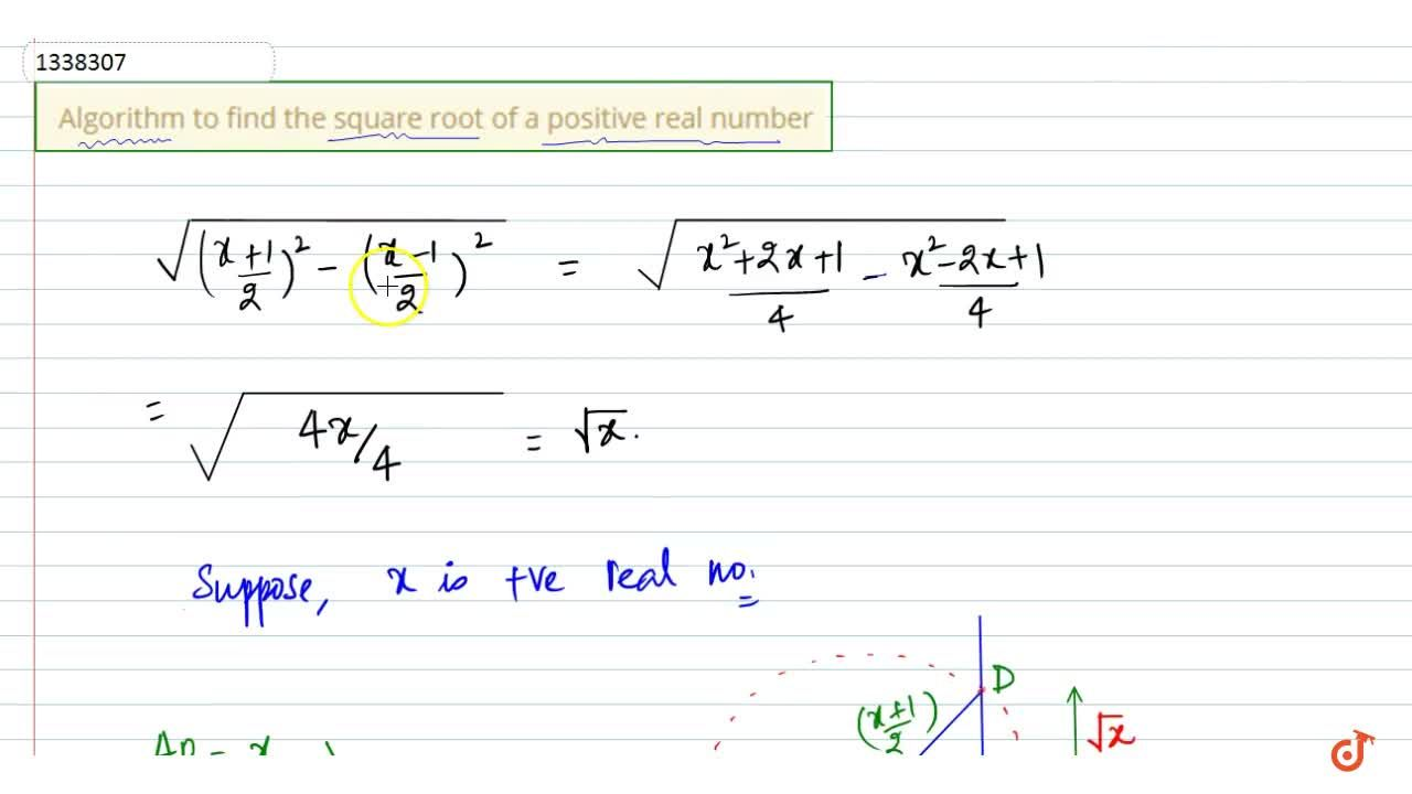 Solution for Algorithm to find the square root of a positive re