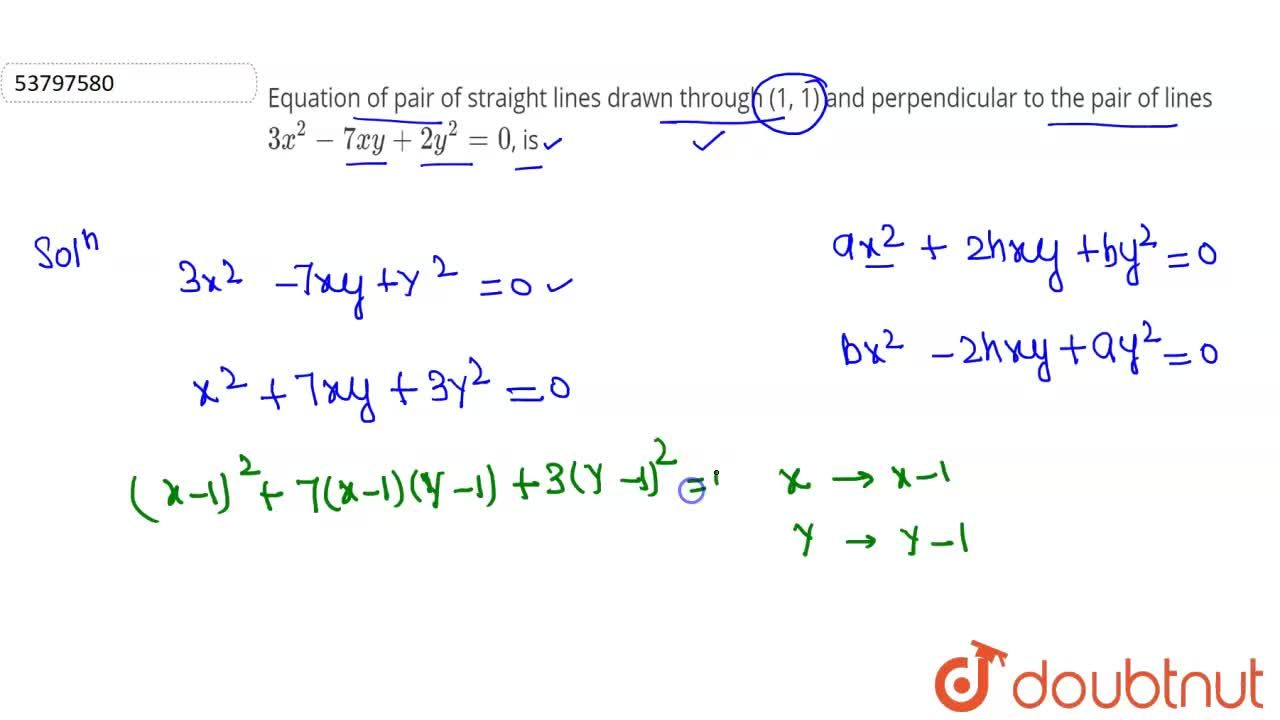 Solution for Equation of pair of straight lines drawn through (