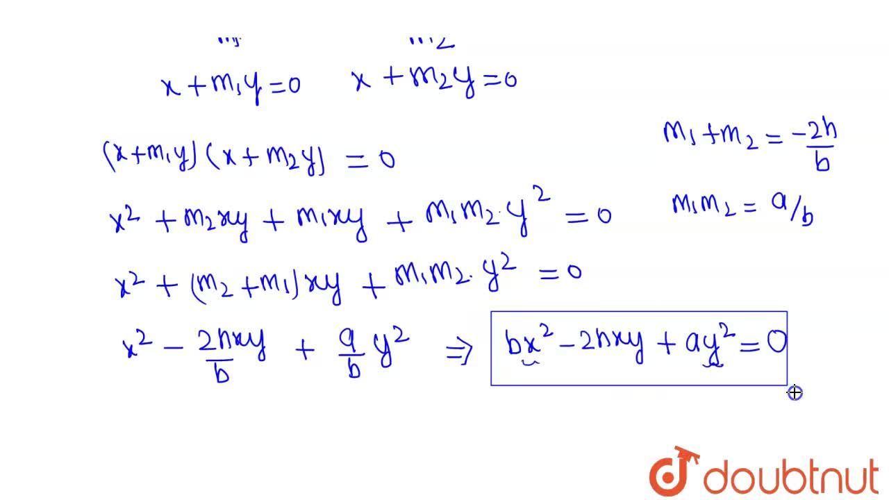 The combined equation of the pair of lines through the origin and perpendicular to the pair of lines given by ax^(2)+2hxy+by^(2)=0, is