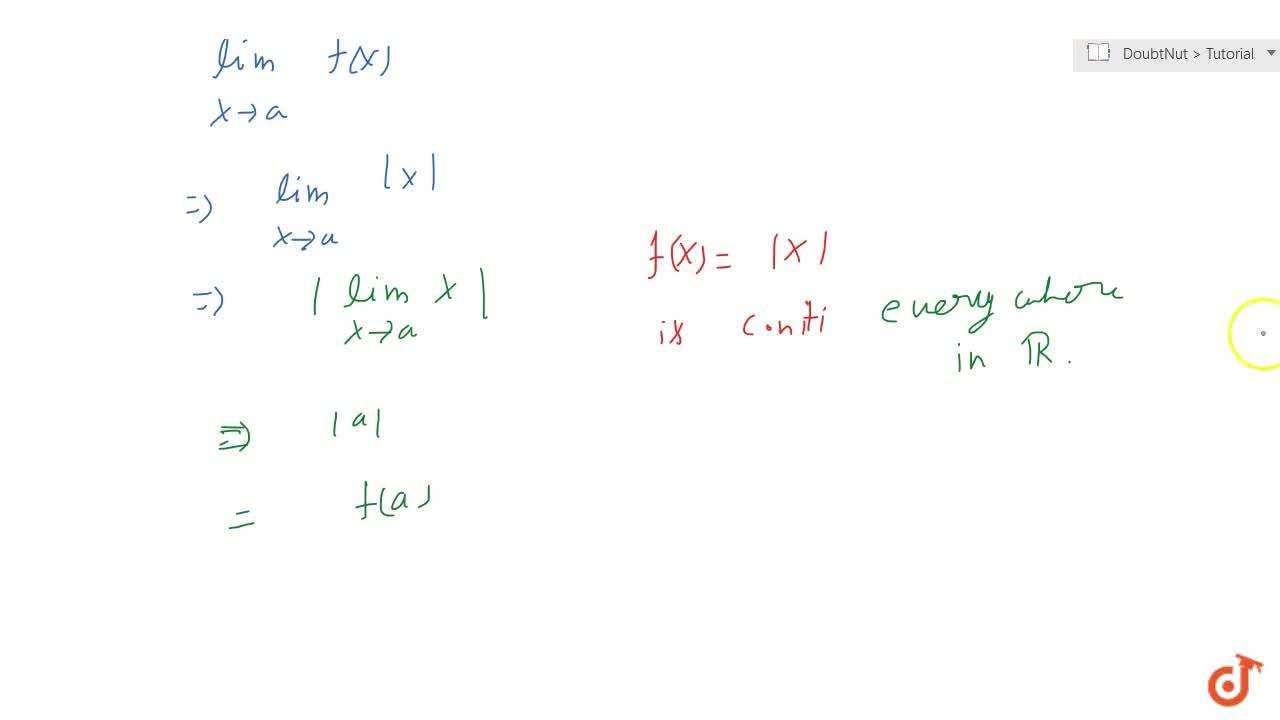 A modulus function is everywhere continuous.