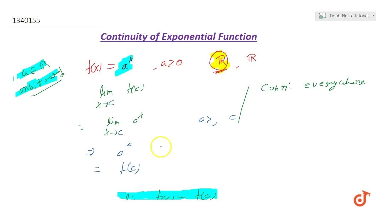 The exponential function a^x; a>0 is everywhere continuous.