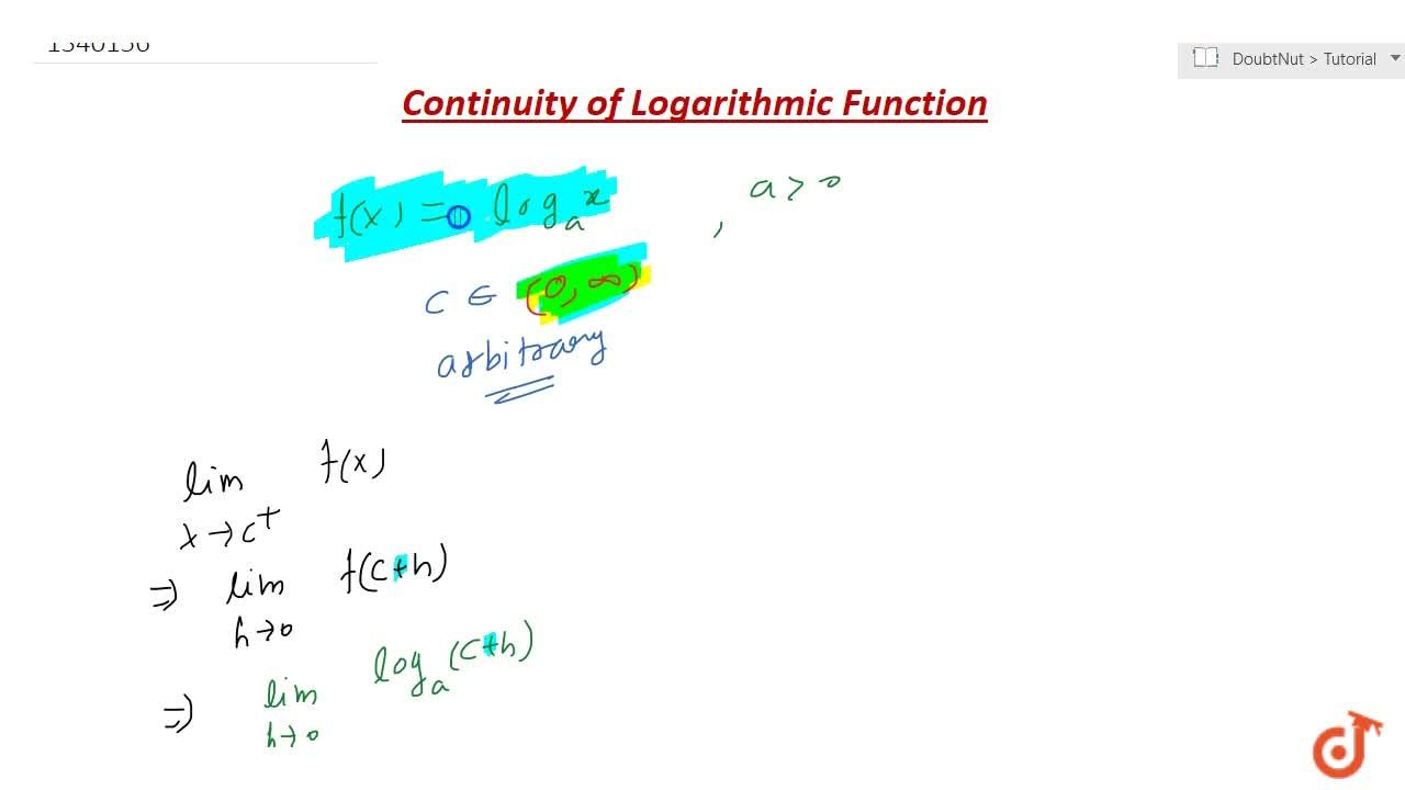 A logarithmic function is continuous in its domain.