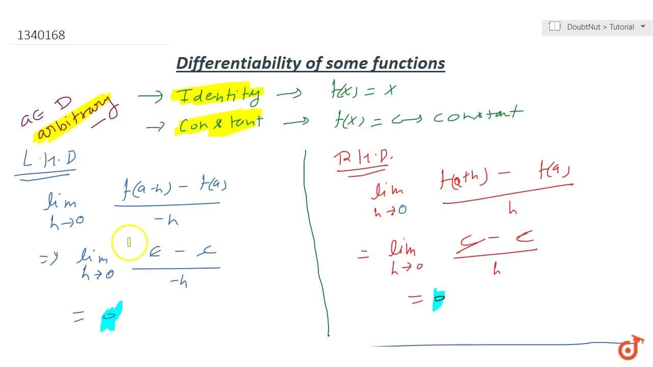 Definition and examples of some differentiable functions