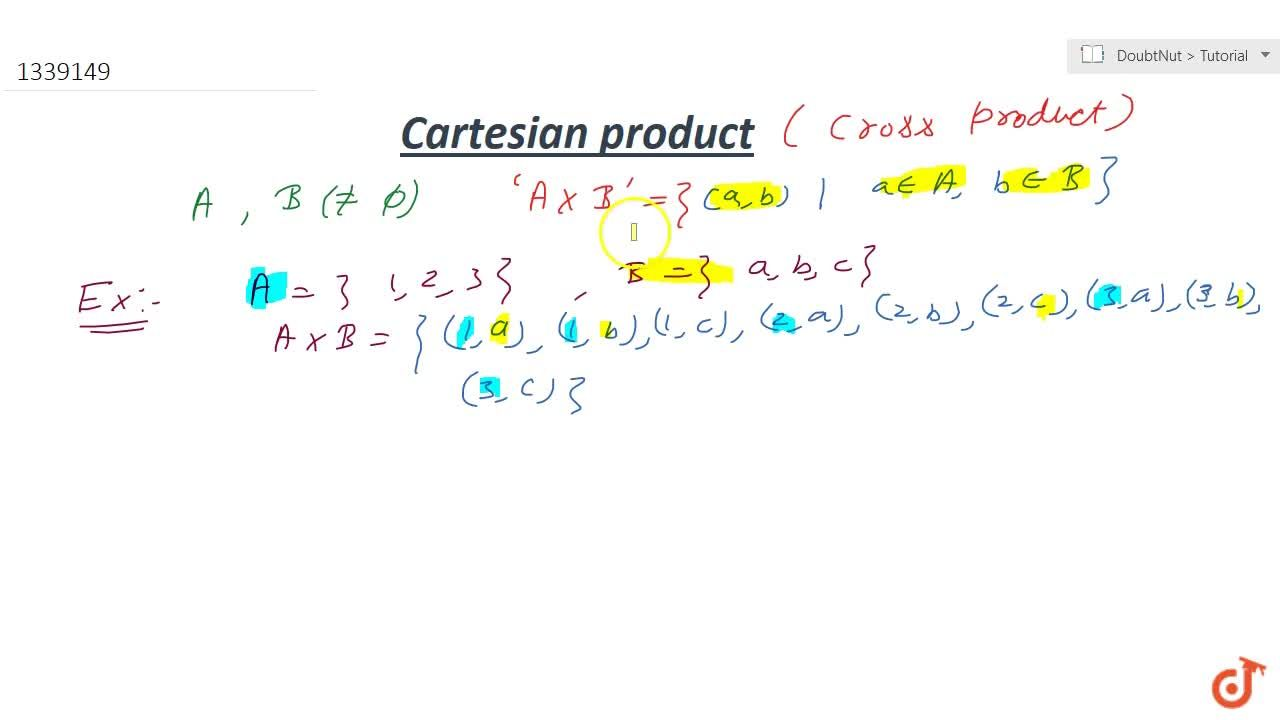 Solution for What is Cartesian product of 2 sets ? (explain wit