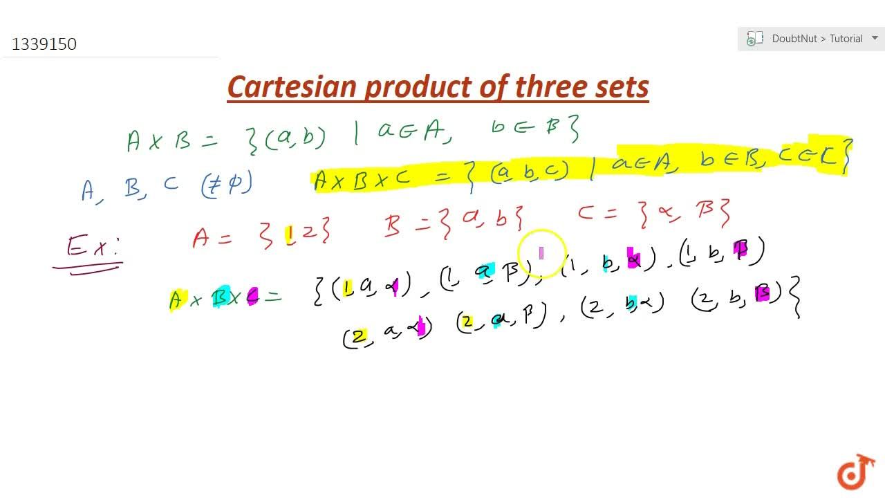 Solution for What is Cartesian product of 3 sets ?(explain with