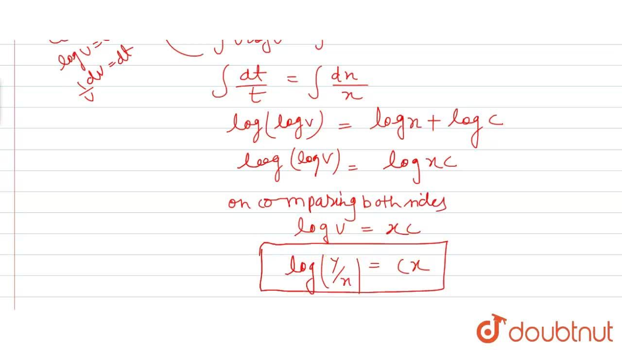 Solution for Solve the differential equation x(dy),(dx)=y(log