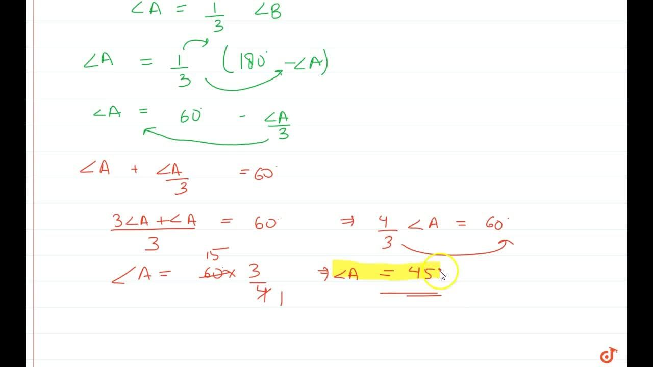 Solution for An angle is equal to   one-third of its supplemen