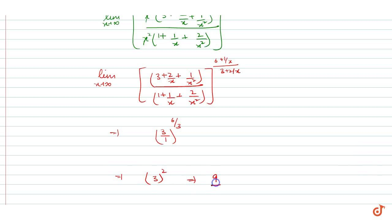Solution for lim_(x->oo)((3x^2+2x+1),(x^2+x+2))^((6x+1),(3x+2)