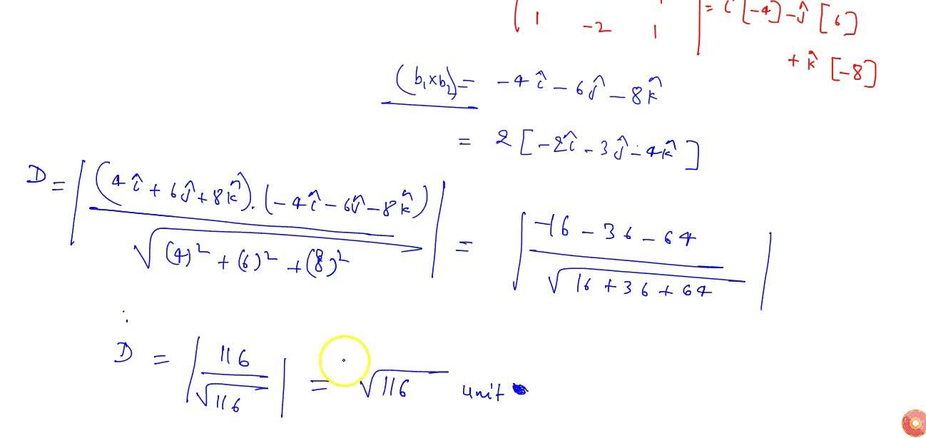 Solution for Find the shortest distance between the following l