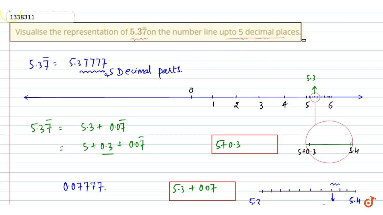 Visualise the representation of 5.3bar7on the number line upto 5 decimal places.