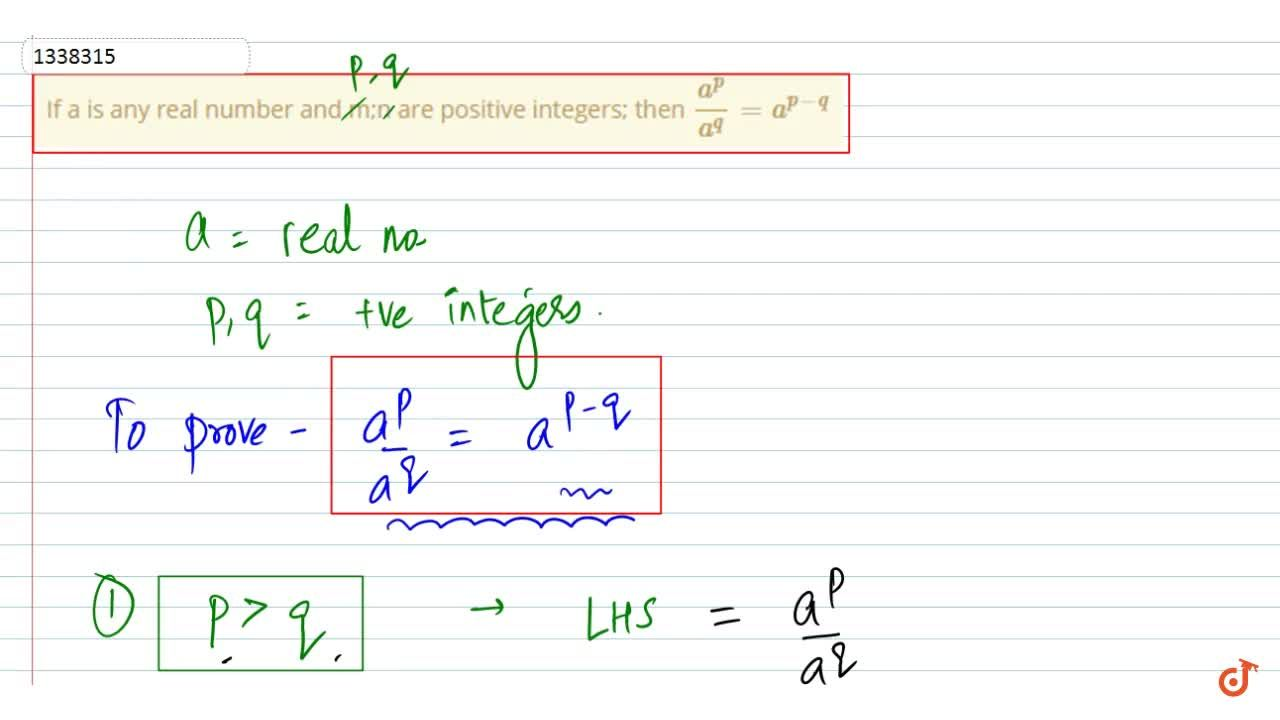 Solution for If a is any real number and m;n are positive integ