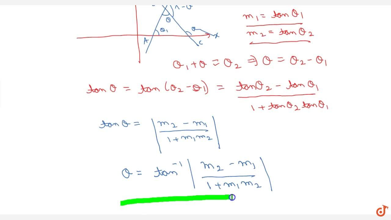 Solution for Find the angles between two lines .