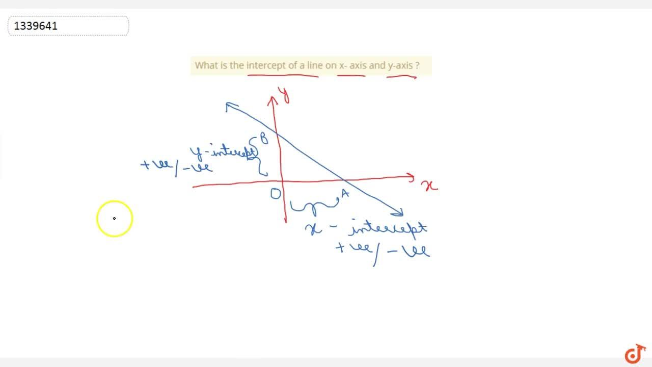 What is the intercept of a line on x- axis and y-axis ?
