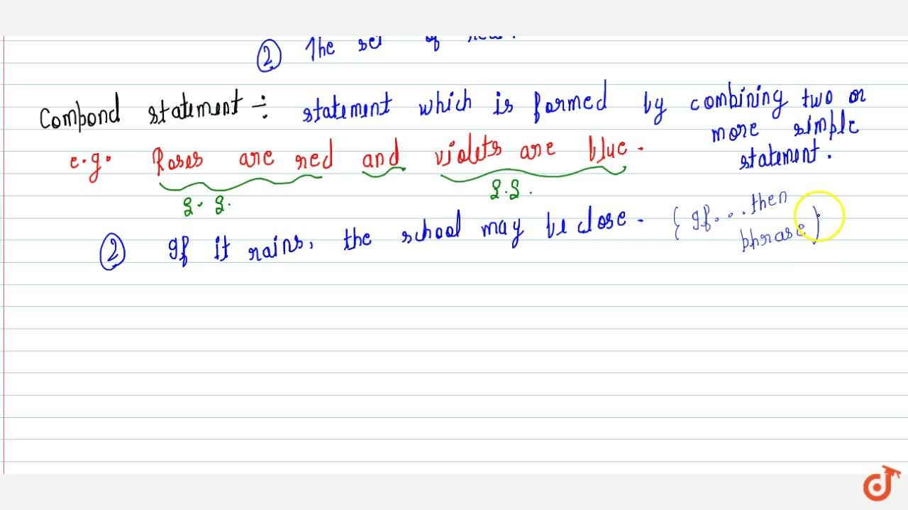 Solution for Negation of the statement,Simple Statement and  co