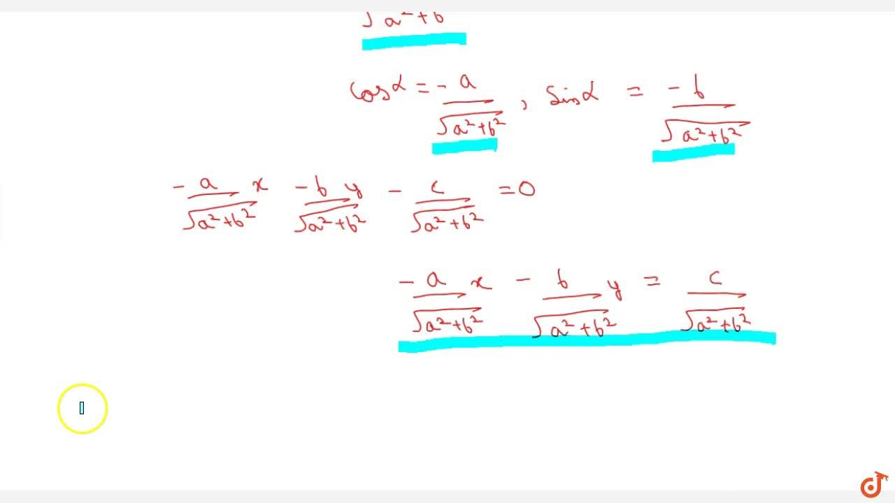 Solution for Representation of ax+by+c=0 in different forms.