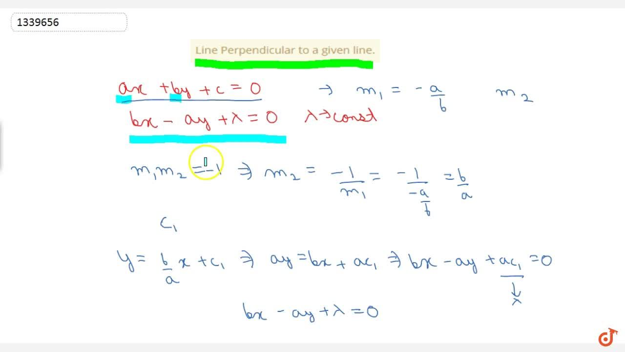 Solution for Line Perpendicular to a given line.