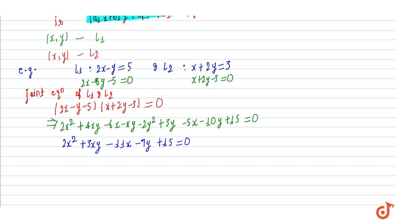 Explain Pair of straight lines with examples.