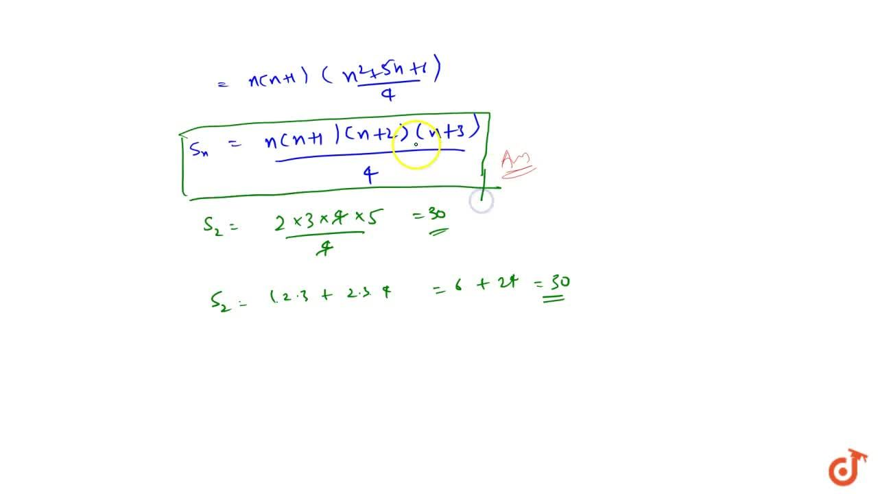 Solution for Find the sum of n terms of the series 1*2*3+2*3