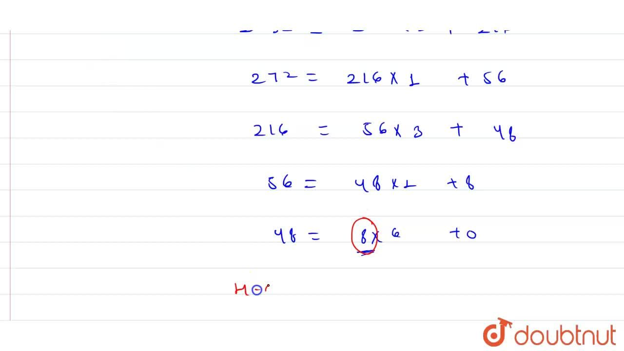 Use Euclid's algorithm of find the HCF of  272 and 1032.