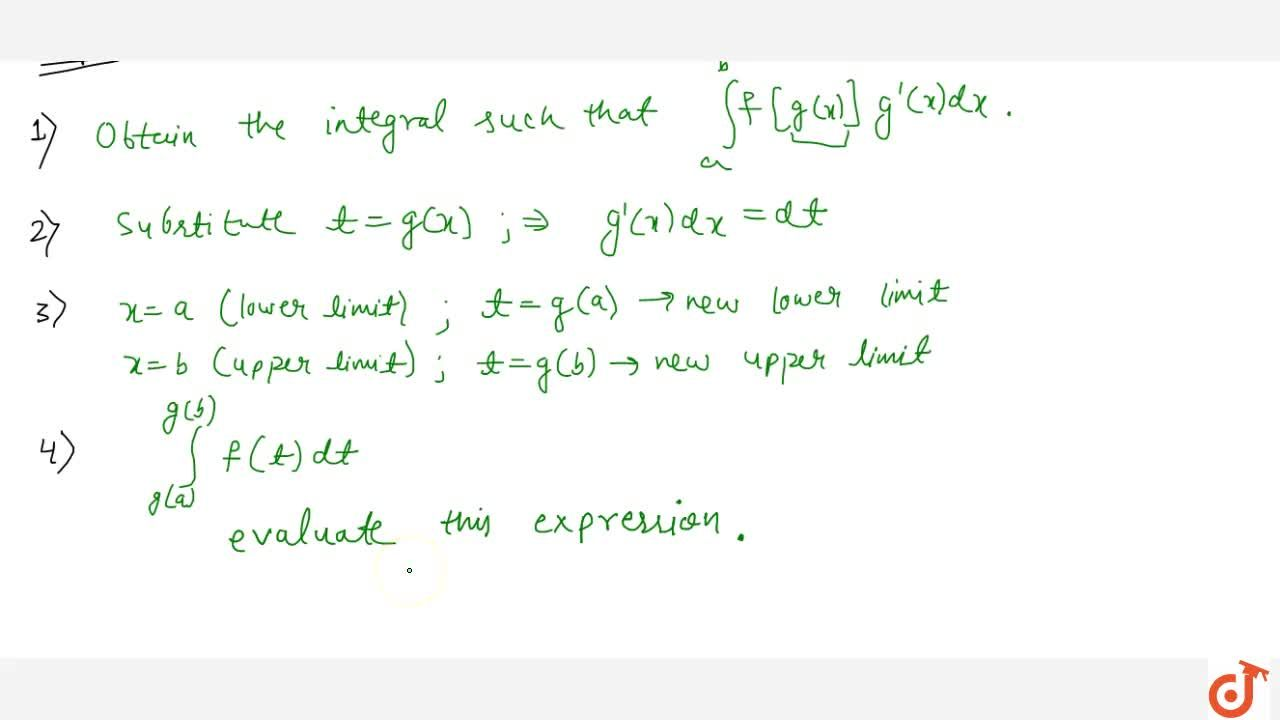Solution for Definite integration by substitution