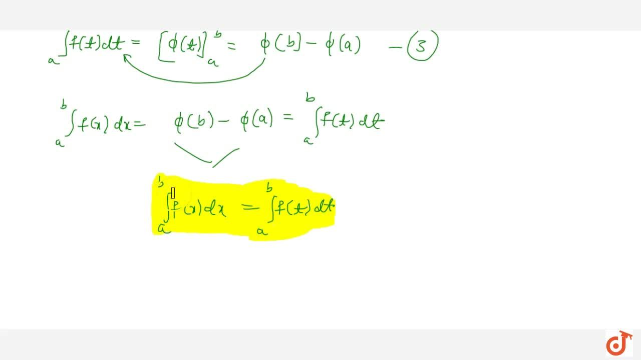 Property 1: Integration is independent of the change of variable. int_a ^b f(x) dx = int_a ^b f(t) dt