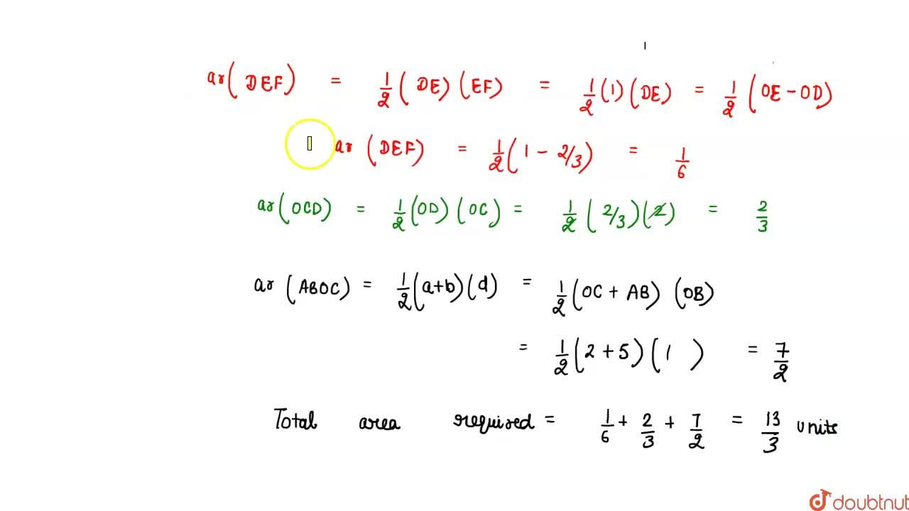 Solution for Find  the area of the region bounded by the line
