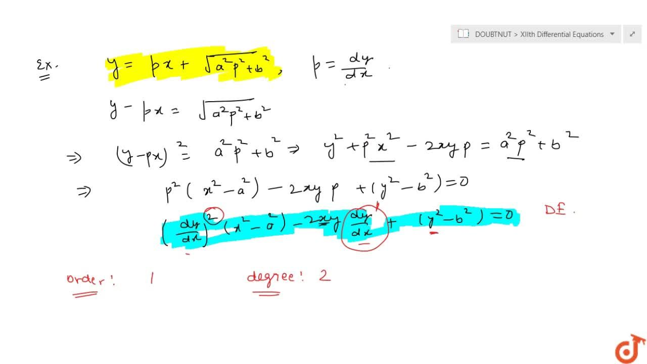 Solution for What is differential equation and order and degree