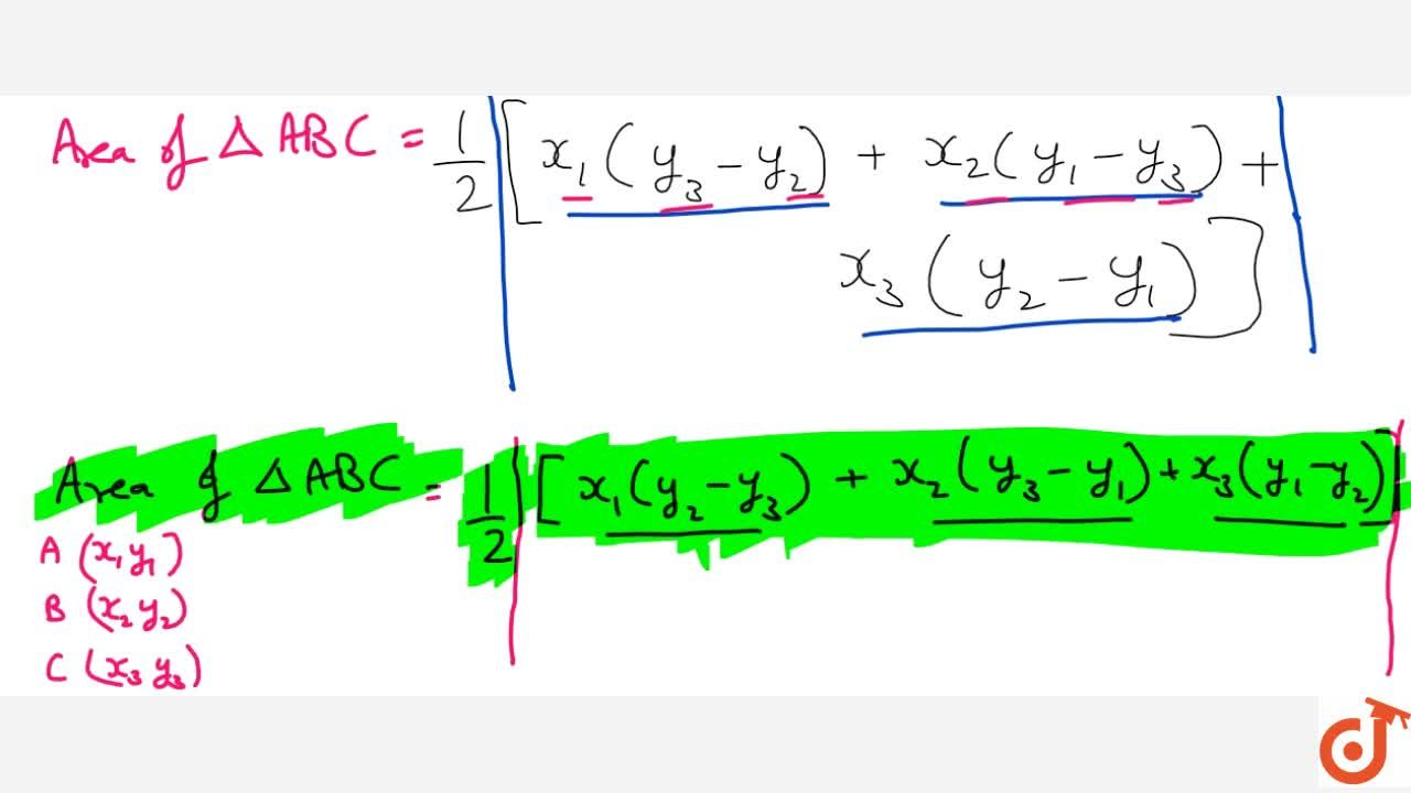 Solution for Theorem : The area of a triangle the coordinates o