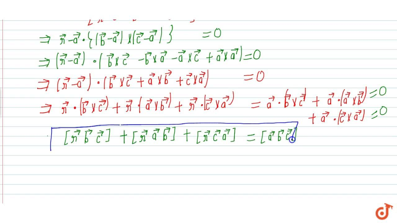 Solution for Equation of plane passing through 3 points in vect