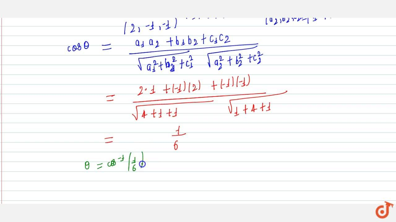 Find the angle between the lines whose direction cosines are given by the equations 3l + m + 5n = 0 and 6mn - 2nl + 5lm = 0