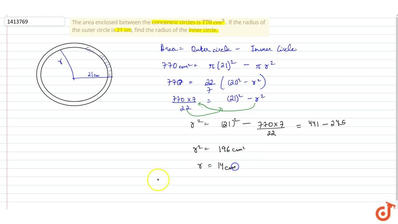 Solution for The area enclosed between the concentric   circle
