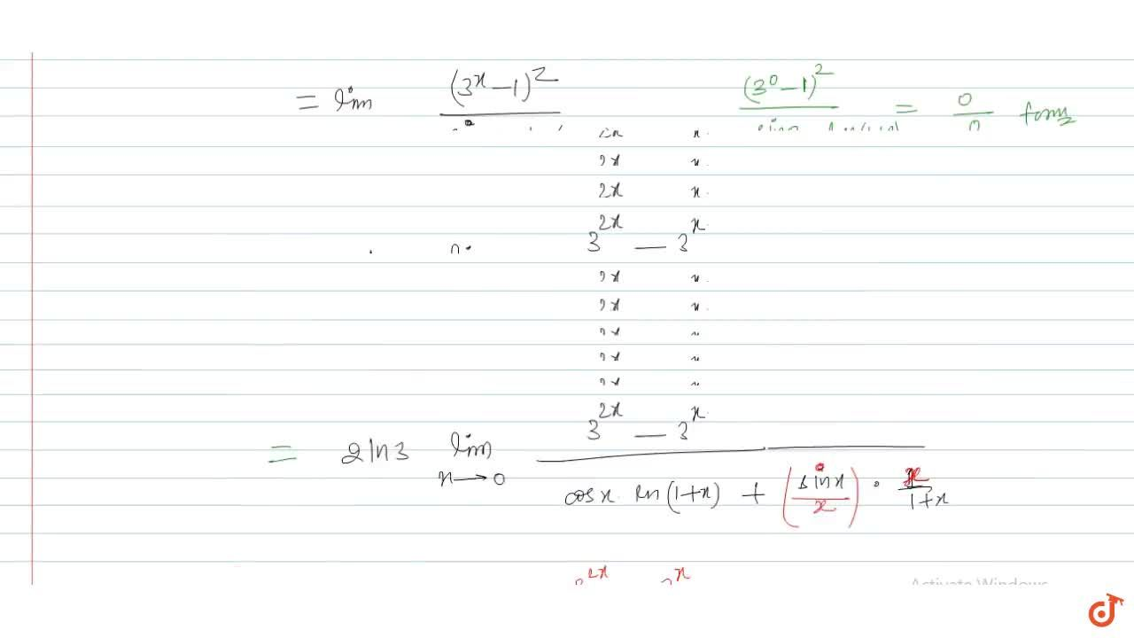 Solution for The function f(x)=((3^x-1)^2),(sinx*ln(1+x)),  x