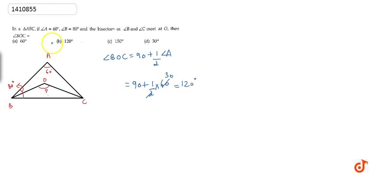 Solution for In a  A B C , if ,_A=60^0,\ ,_B=80^0 and the b