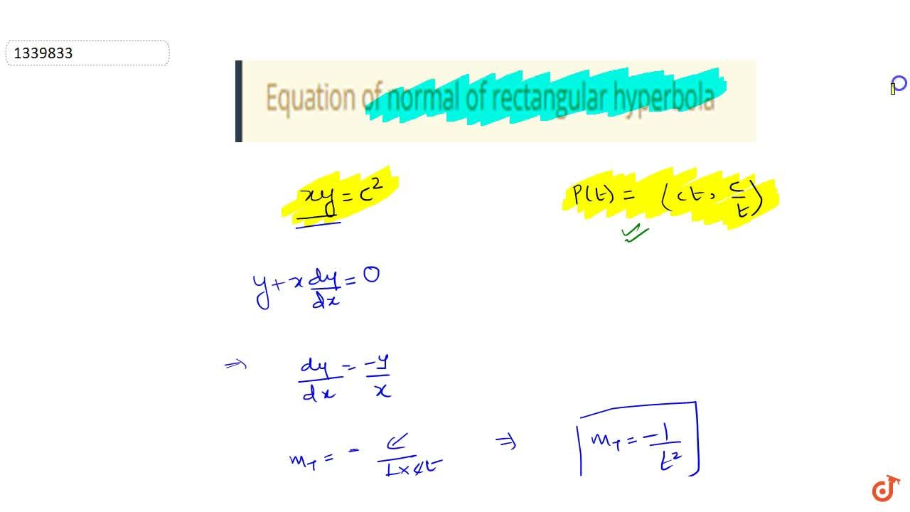 Solution for Equation of normal of rectangular hyperbola