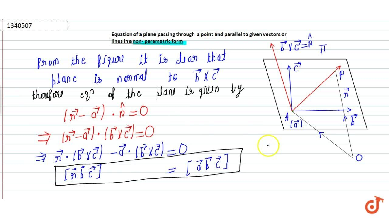 Solution for Equation of plane passes through a point and paral