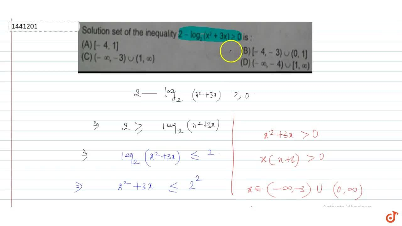 Solution set of the inequality 2 - log_2(x^2 + 3x) >= 0 is: