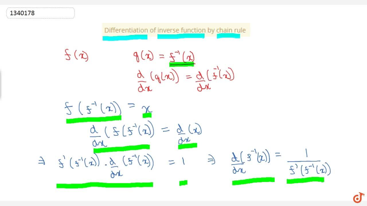 Solution for Differentiation of inverse function by chain rule