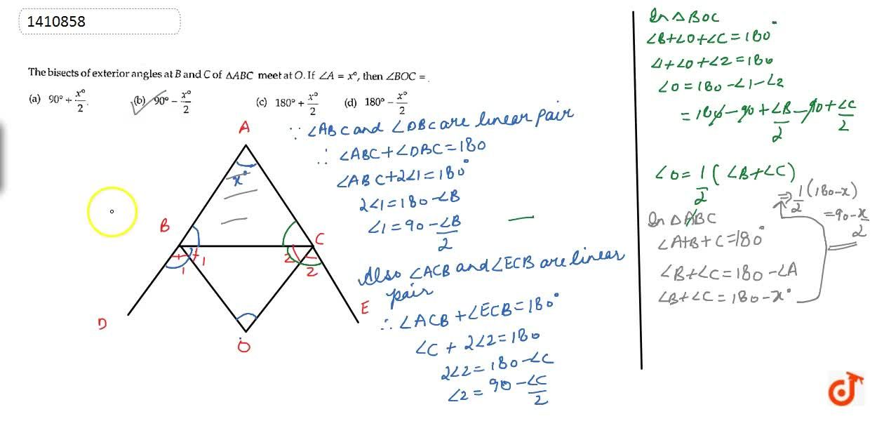 Solution for The bisects of exterior   angles at B\ a n d\ C