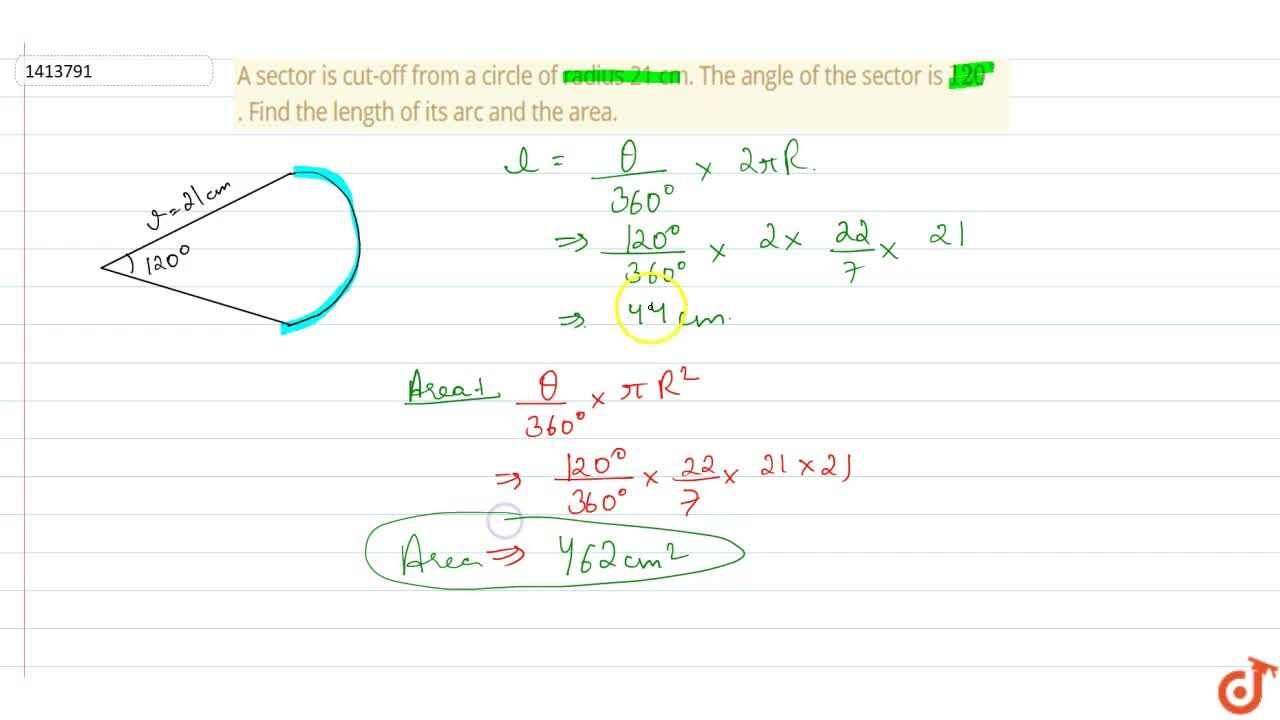 Solution for A sector is cut-off from a circle of radius   21