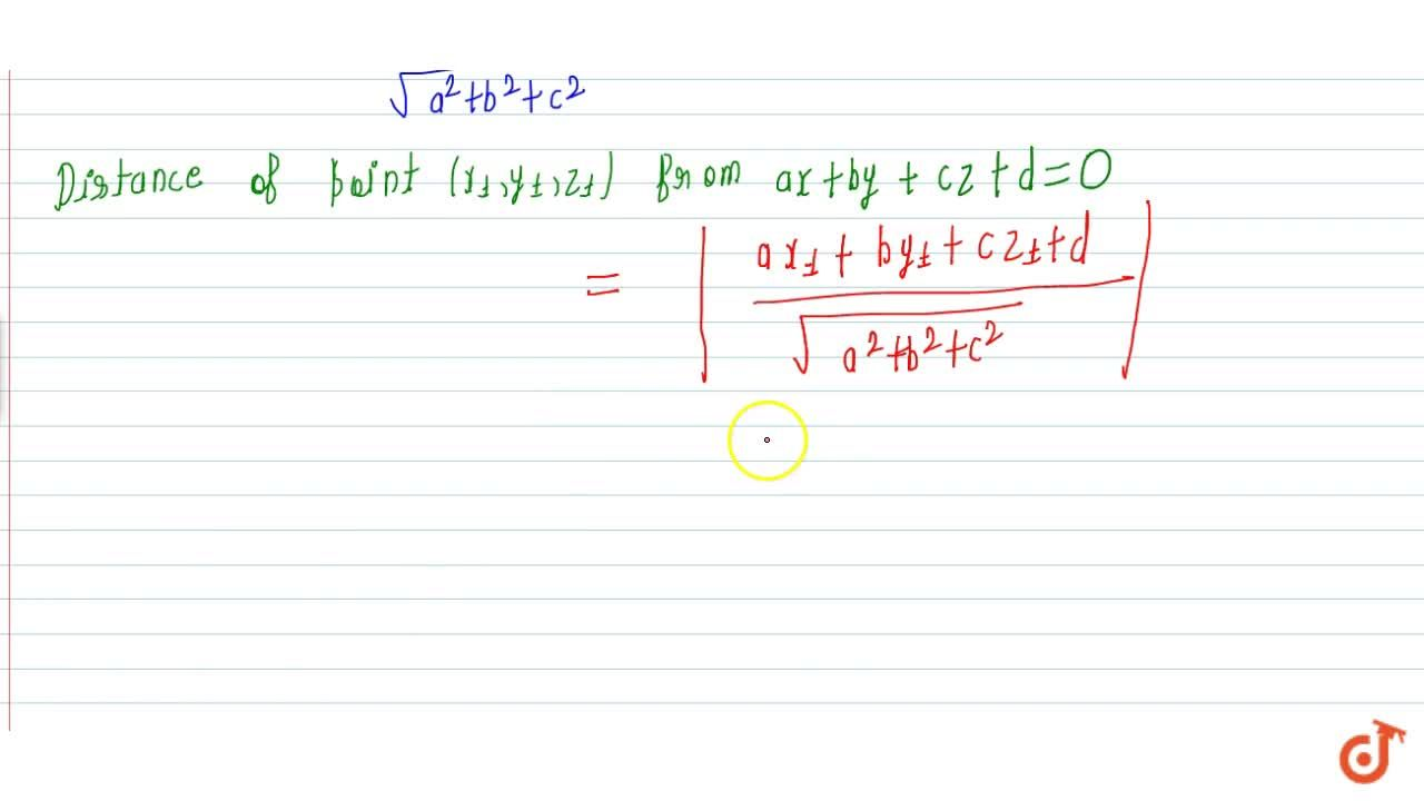 Solution for Distance of a point from plane (vector + cartesian