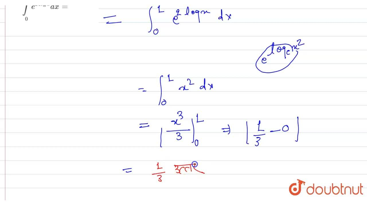 Solution for int_(0)^(1) e^(2logx)dx=