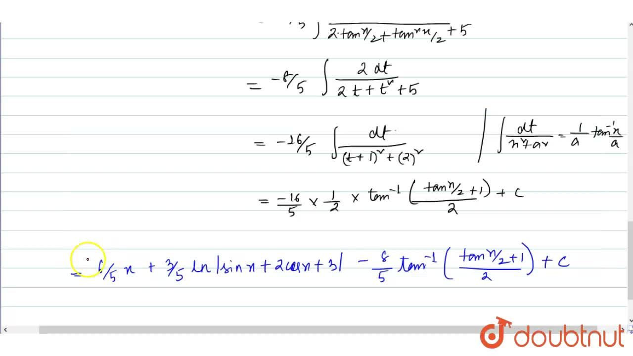 Solution for Evaluate: int(3cosx+2),(sinx+2cosx+3)dx