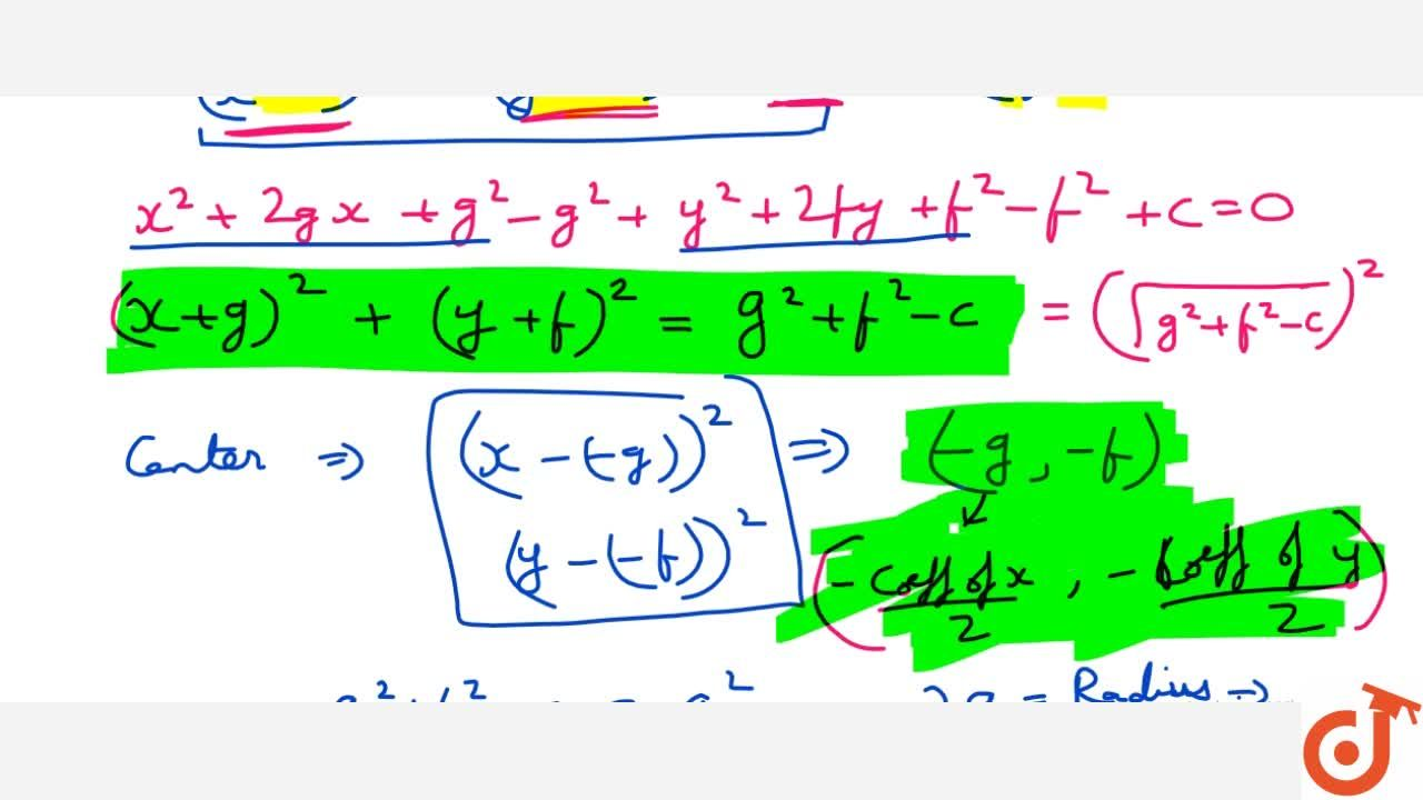 Solution for Theorem:- Prove that the equation x^2+y^2+2gx+2fy