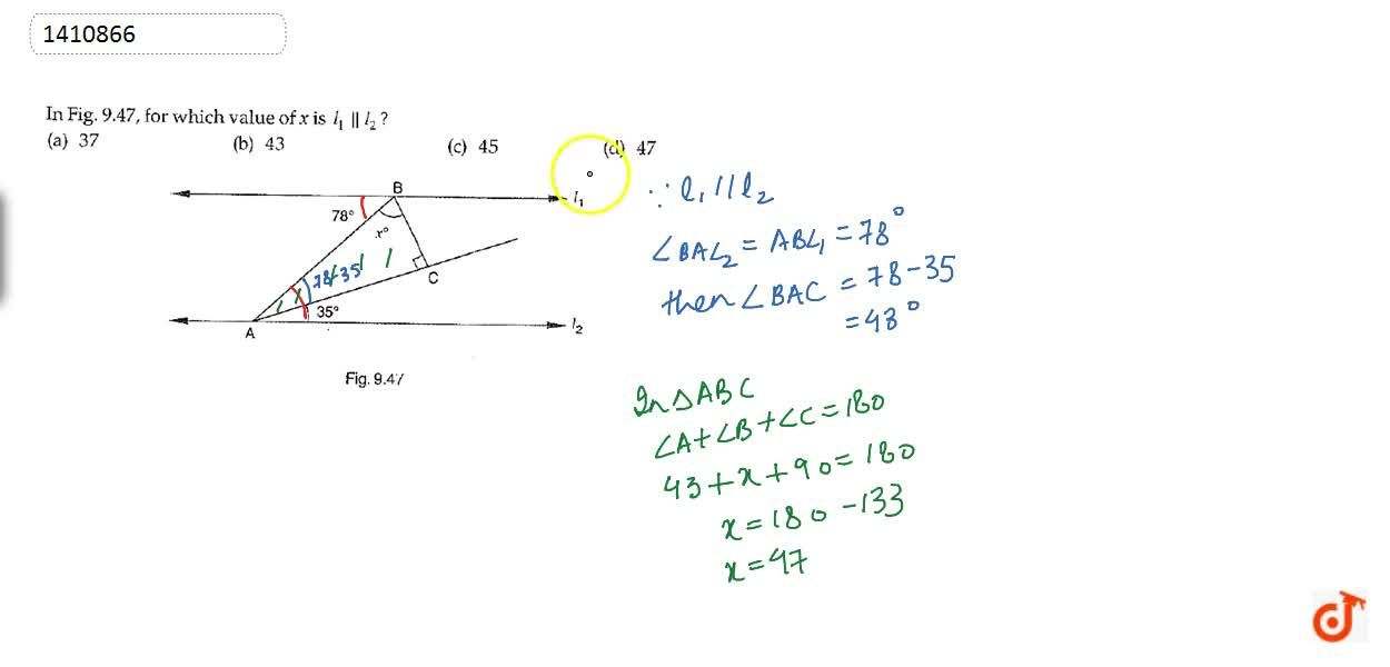 Solution for In Figure, for which   value of x is l_1 l_2