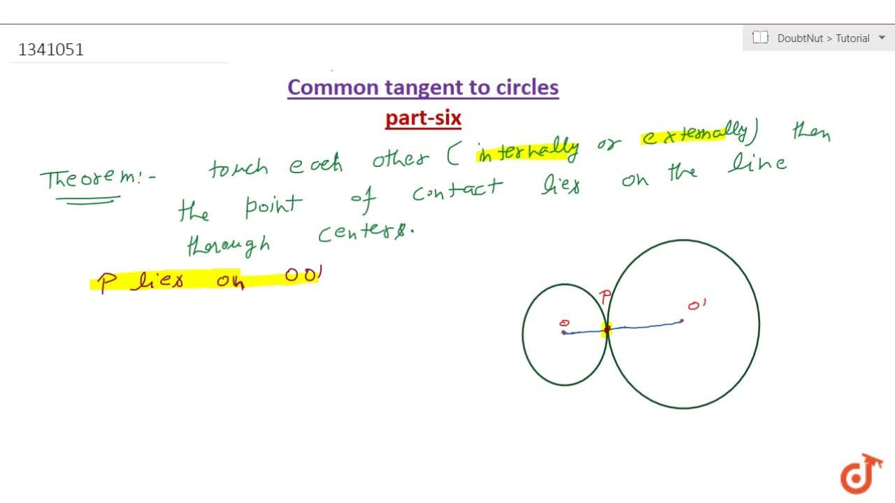 If two circles touch each other (internally or externally); the point of contact lies on the line through the centres.