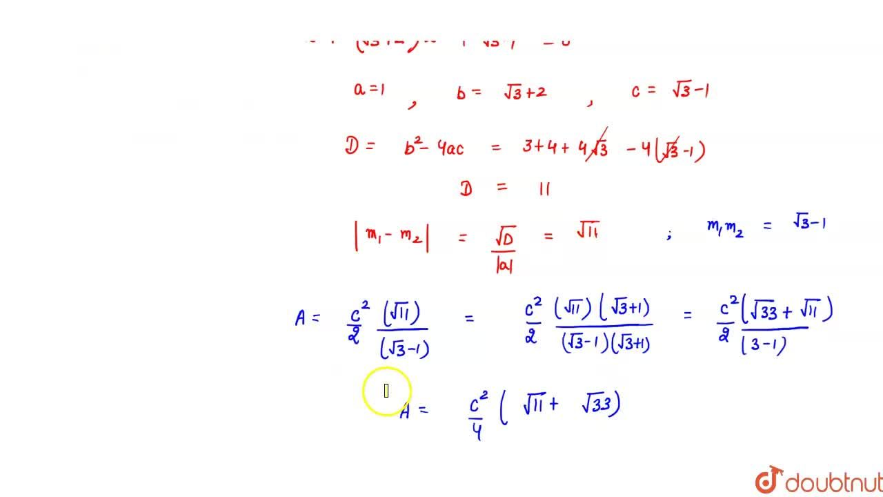 Solution for If m_1 and m_2 are roots of equation x^2+(sqrt(