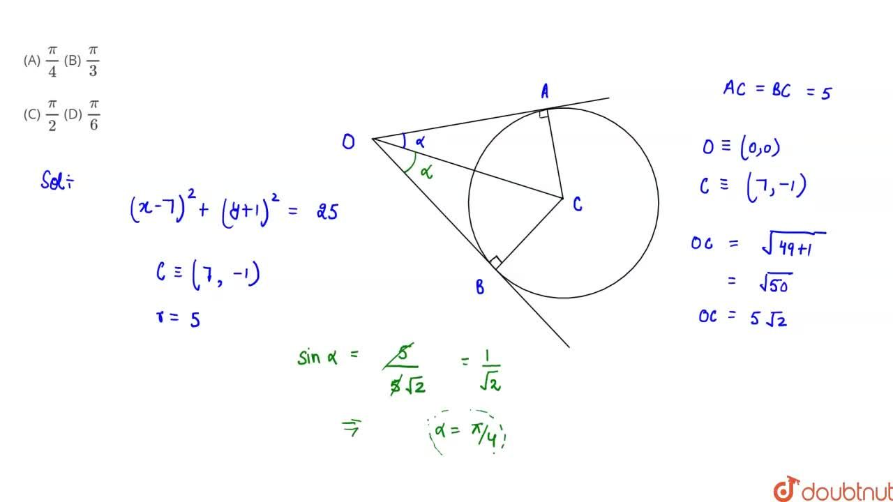 Solution for The angle between the two tangents from the origin